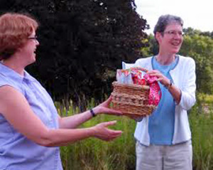 Sister Lynne receives her going to school survival basket