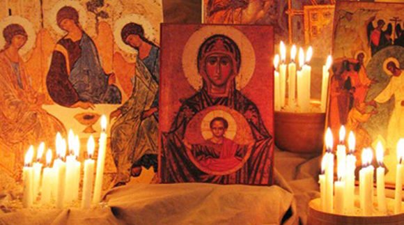 candles and icons create setting for centering prayer
