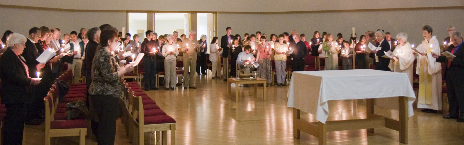 Easter vigil candlelight service at Holy Wisdom Monastery.