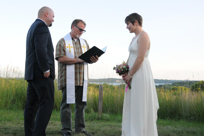 Marriage ceremony overlooking Lake Mendota in Madison WI