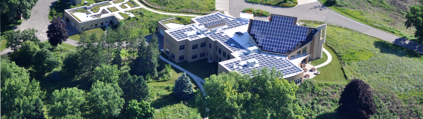 aerial view of solar panels at Holy Wisdom - photo by H & H Solar