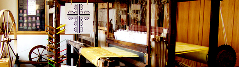 Pat Hilts' loom set up for weaving Easter III banner for Holy Wisdom Monastery