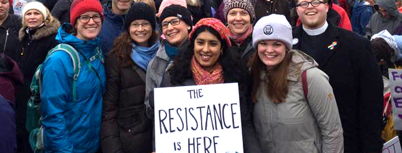 "Sister Rosy and friends holding sign reading ""The Resistance is HERE"""