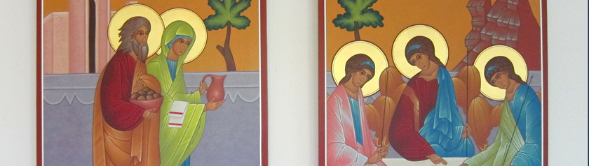 Two icons depicting the hospitality of Abraham and Sarah: Abraham & Sarah carrying food and drink and three guests seated at table
